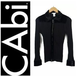 Cabi Ribbed Black Zipper Sweater Jacket Velour L
